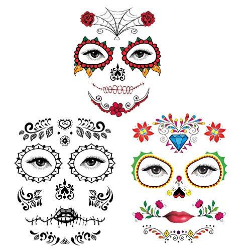 Yisily 3 PC Halloween Gesicht Tattoo-Aufkleber Rote Rosen Tag der Toten Zuckerschädel Halloween temporäre Gesichts-Aufkleber für Halloween-Maskerade und Parteien (Art 1 2 - Tag Der Toten Gesicht Kostüm