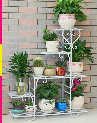 Balcone appariscente fioriere, fioriere in ferro battuto, espositori per piante da balcone, fioriere per piante verdi all'aperto impianti all'aperto display stand ( colore : bianca , dimensioni : 68*23*85cm )