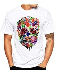 VPASS Camiseta para Hombre, Verano Manga Corta Impresión Moda Diario Slim Fit Casual T-