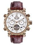 Hindenberg 370-H Expeditor rosegold weiss mit Lederarmband Herren Automatik Armbanduhr