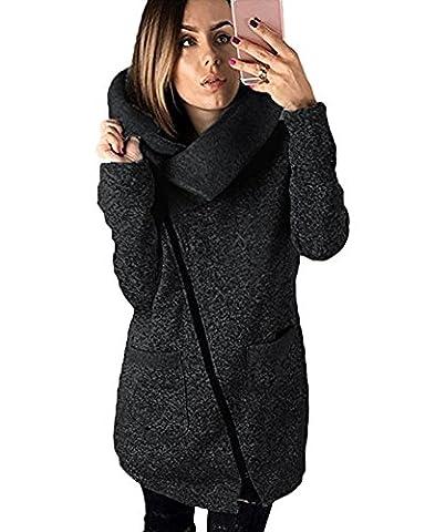 Tomwell Femme Manteaux à Capuche Gilet Bouton épais Blouson Hiver Hoodie Veste Jacket Casual Outwear Coat Fleece Manteau Gris foncé FR 38