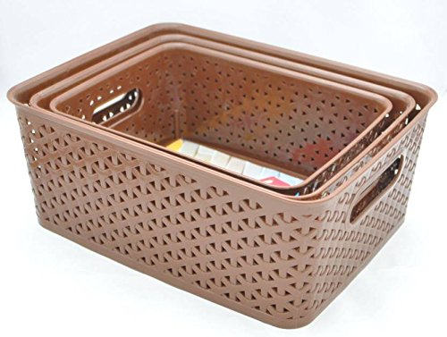 FAIR FOOD Polypropylene Multipurpose Baskets without Lid (Big, Medium, Small, Brown) – Pack of 3
