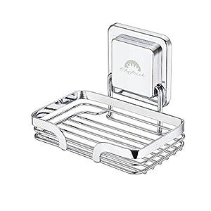 Cheftick Strong – Jabonera de Acero Inoxidable, con Soporte de Pared, extraíble y Reutilizable, Soporte de Esponja de jabón para baño y Cocina, sin uñas sin perforación