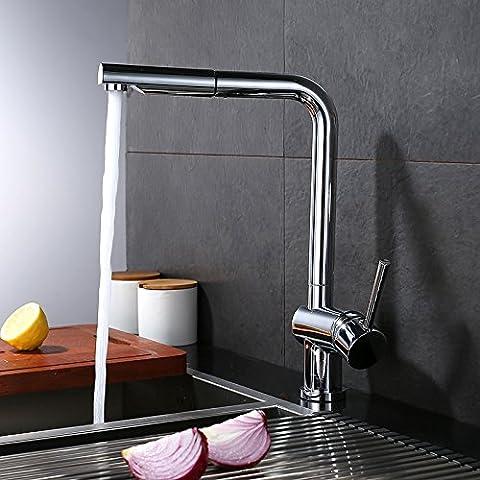 Tirare cucina doccia calda e fredda acqua tirata dissipatore di oscillare attorno al rubinetto in ottone I, sez. B)