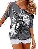 Q&Y Damen V-Ausschnitt gestreift Casual Kurzarm T-Shirt Bluse Tees Tops, Damen, Grau, US M(Tag L)