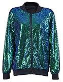 Top Fashion Damen Pailletten Bomber Jacke Festival Clubbing Party Disco 70er Jahre Jacke Mantel Glitter glänzend EU Size 36-44