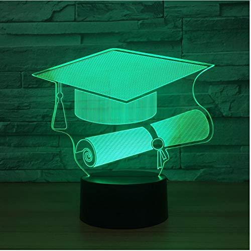 Berührungsschalter Doctor Cap 3D Licht Led Nachtlicht Lampe 7 FarbwechselUsbTisch Schreibtischlampe Als Memorial Geschenk Für Studenten -