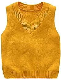 Shengwan Niños Chaleco Vest Infantil Cuello en V Sweater Jerséis de Punto Sin Manga Jersey Pullover