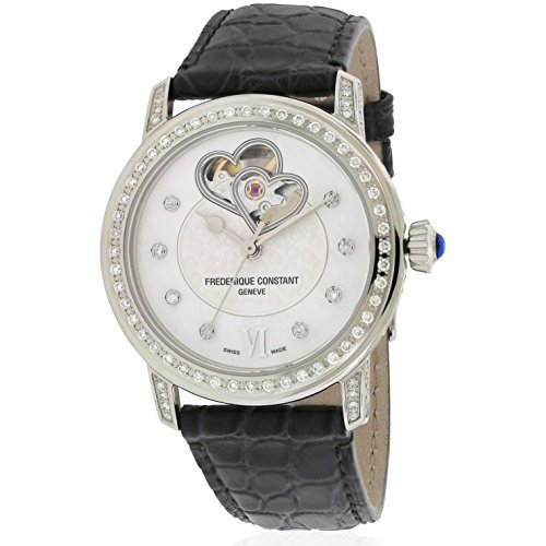 Frederique Constant Women's 34mm Grey Satin Band Steel Case Automatic Analog Watch FC-310DHB2PPV6