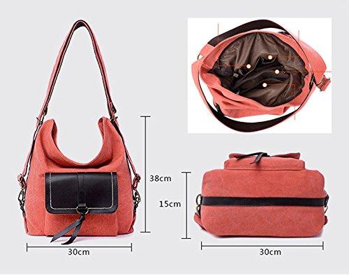Moonsister Damen Mädchen Jahrgang Mode Canvas Umhängetasche, Große Praktische Reise Käufer Schule Tasche Rucksack, Beige Orange
