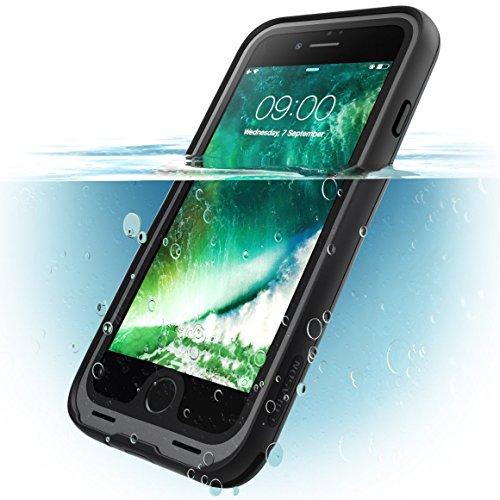 i-Blason iPhone 8 Hülle, [Aegis] Wasserdicht Handyhülle Ganzkörper Schutzhülle Robustes Case Schale mit eingebautem Displayschutzfolie (Kompatibel mit iPhone 7 / iPhone 8) (Schwarz)