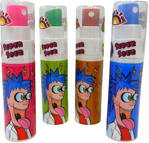 4 x * FUNNY SPRAY - Sauer macht lustig! * ┃ Mitgebsel Kindergeburtstag ┃ Super-saure Süßigkeit mit 4 Geschmäcker ┃ Hersteller aus Deutschland ┃ Kinder lieben dieses Spray-Spiel