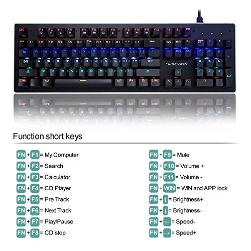 FLAGPOWER Mechanische Tastatur Gaming Tastatur beleuchtete LED Gaming-Keyboard mit Kabel, Anti-Ghosting, 104 Tasten(Multimedia Taste, 10 Hintergrundbeleuchtung) Englisch Layout - 5