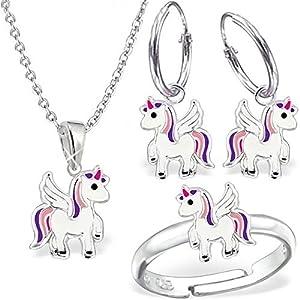 Mädchen Set Einhorn Ring Creolen Anhänger Kette 925 Echt Silber Kinder Pegasus