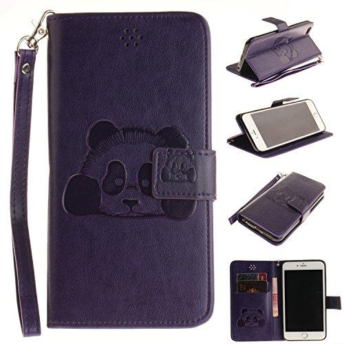 valentoria iPhone 7Plus 5,5pulgadas Funda, Premium Vintage Cute Panda Animal piel cartera...