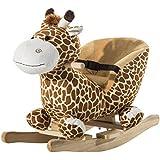 Homcom - Cavallo a Dondolo in Legno Giraffa per Bambini 60 x 33 x 45cm Caffè