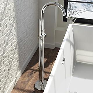 iBathUK | Freestanding Bath Filler Mixer Tap Chrome Hand Held Shower Head Set TB3017