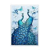 5D Diamant Stickerei Gemälde Strass Pastete, DIY Diamant malerei Blauen Pfau Kreuzstich (Set)