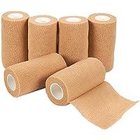 Selbsthaftende Bandage – 6 Stück selbsthaftende Bandage Medizinische Tierarzt-Tape in Hellbraun, für Erste Hilfe... preisvergleich bei billige-tabletten.eu