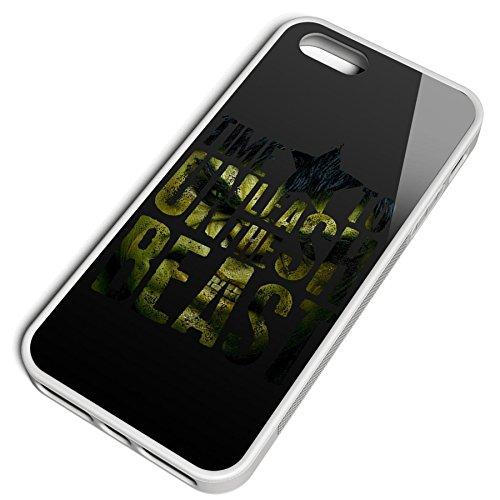 Smartcover Case Time To Unleash the Beast z.B. für Iphone 5 / 5S, Iphone 6 / 6S, Samsung S6 und S6 EDGE mit griffigem Gummirand und coolem Print, Smartphone Hülle:Samsung S6 EDGE weiss Iphone 5 / 5S weiss