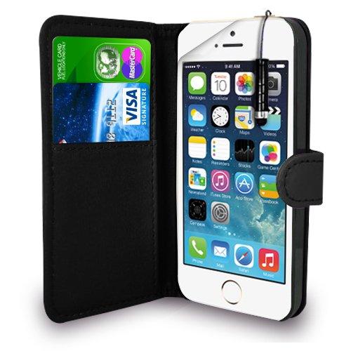 Apple iPhone 5S / 5 - Leder Geldbörse Flip Hülle Tasche + Mini Stylus Pen + Display Schutzfolie & Poliertuch (Schwarz) (5 Geldbörse)