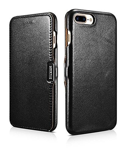 Luxus Tasche für Apple iPhone 8 Plus und iPhone 7 Plus (5.5 Zoll) | Case mit Echt-Leder Außenseite | Schutz-Hülle seitlich aufklappbar | ultra-slim Cover | Etui | Schwarz -