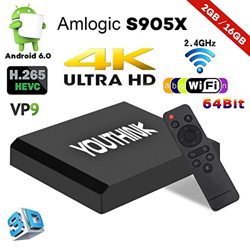 Proyector portátil TV Box Android 6,0 TV Box 2 GB 16 GB Amlogic s905X CPU Quad Core A53 Procesador de 64 bits WiFi/1080p/4K con HDMI/USB/AV/Tarjeta TF