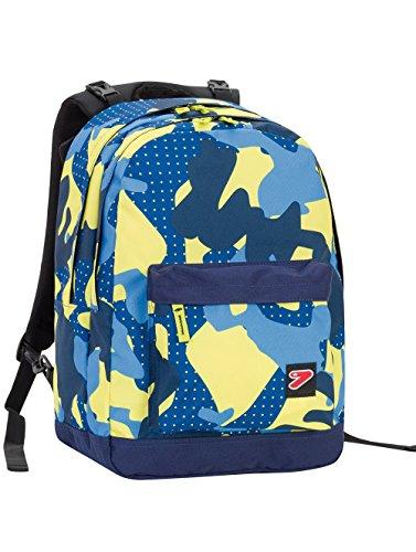 Zaino SEVEN - THE DOUBLE PRO XXL - Camouflage Blue Giallo - 30 LT schienale compatibile con COVER e REVERSIBILE