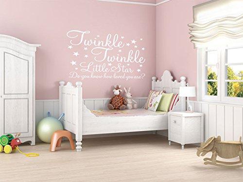 Adesivo in vinile da parete con frase 'twinkle twinkle little star', per la stanza del bebè, decalcomania, racing green, x-large 89cm (w) x 57cm (h)