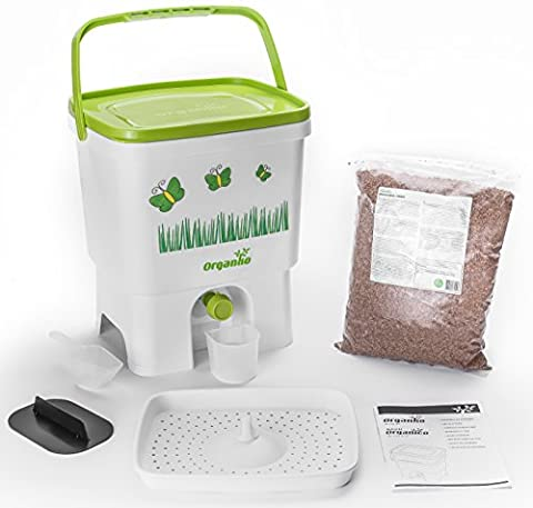 Bokashi Organico Single with active Bran and Accessories - Sustainable and Innovative Organic Waste Bin - Composter Kit (White /