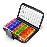 Anpole Pilulier Semainier, Medicine Tablet Pill Box avec AM PM 7 Jour 4 fois par Jour 28 Compartments Rangement de Distributeur de Support de Pilule de Grand Voyage