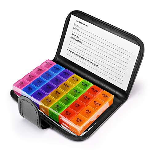 Anpole Pillbox Organizer, Pillendose Tablettenbox Tragbar Medikamentendosierer AM und PM Nacht Pille Erinnerung 7 Tage Pillendose mit 28 Fächer und Schutzhülle