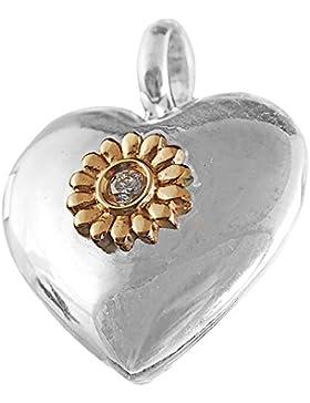 Thomas Sabo Medaillon Herz Anhänger mit Öse Silber mit Gold und Diamant 15 mm SD_PE0008-179-14