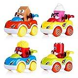 VATOS Coches de Juguete para Niños Pequeños de 4 Juegos de Juguete para Bebés de Coches de Fricción con Motor de Empuje y Anda de Dibujos Animados de Juguetes Los Mejores Juguetes para Niños de 1 año