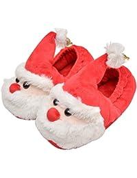 Pantofole natale bambini e neonati OULII Scarpe ciabatte natalizie in peluche antiscivolo e mordide per inverno con Babbo Natale e campanelli