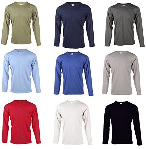 Blu Cherry 2 Or 4 Or 6 Pack Mens Plain 100% Premium Cotton Blank Basic Long Sleeve T Shirt Casual Top Assorted Multi Pack Heavy Cotton T-Shirt