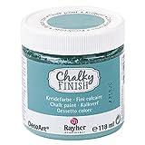 Rayher 38867392 Chalky Finish auf Wasser-Basis, Kreide-Farbe für Shabby-Chic-, Vintage- und Landhaus-Stil-Looks, 118 ml, indisch türkis