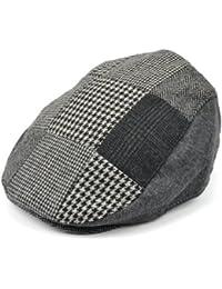 8028f4cc8edf8 Mens flat cap with grey patchwork check tweed herringbone design