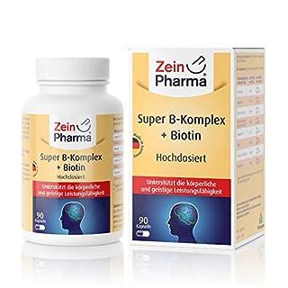 ZeinPharma Super Vitamin B-Komplex • 90 Kapseln (3 Monate Vorrat) • doppelte Stärke • mit allen wichtigen B-Vitaminen wie Folsäure, Niacin, Biotin, B6 u.v.m. • Hergestellt in Deutschland