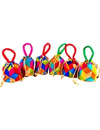 Bombay Haat Women's Small Size Set Of 6 Silk Potli Bags /Pouches /Gift Bags / Traditional Party Favor Bags / Shagun Potlies -Multicolour - Combo001