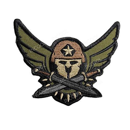 Shoppy Star 3D Spartan Medic Tactical EMT Stickerei Patch Combat Militär Morale Patches Emblem Applikation Gestickte Abzeichen Drop Versand: Grün -