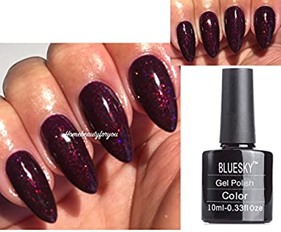 Bluesky Black Cherry Dark Cherry Burgundy with Fine Glitter Nail Gel Polish UV LED Soak Off 10ml PLUS 2 Luvlinail Shine Wipes