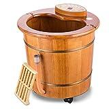 AGAOYUHUA Baño del pie del barril del pie del Footbath Tina de Woodenfoot, masaje automático eléctrico temperatura constante del hogar del barril