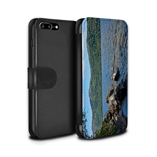 STUFF4 PU-Leder Hülle/Case/Tasche/Cover für Apple iPhone 7 Plus / Tal Muster / Schottisch Landschaft Kollektion Loch/Felsen