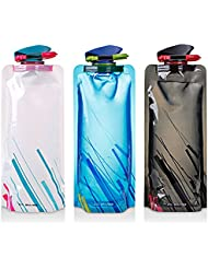 Botella de agua plegable conjunto de 3, MAXIN flexibles plegables botellas de agua reutilizables para senderismo, aventuras, viajes, 700ML.