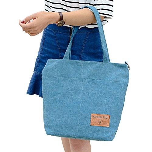 PB-SOAR Damen Vintage Canvas Shopper Handtasche Schultertasche Umhängetasche Freizeittasche 28 x 34 x 13cm(B x H x T) (Braun) Blau