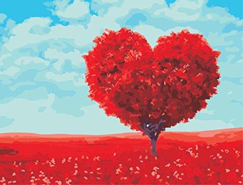Golden maple DIY Vorgedruckt Leinwand-Ölgemälde Geschenk für Erwachsene Kinder Malen Nach Zahlen Kits Home Haus Dekor - Roter Herz-Baum 40*50 cm - Ab Herz