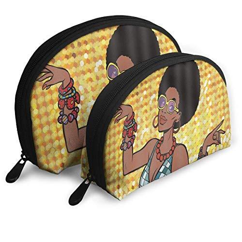 African American Woman Disco Dancer Portable Reise-Kosmetiktaschen Organizer Set of 2 for Women Teens Girls (African American Lip Gloss)