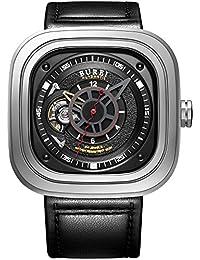 Burei® Herren Armbanduhr Analog Display Japanisches Automatik Uhrwerk mit Schwarz Starp
