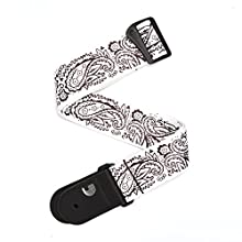 Planet Waves P20W1418 2-Inch Paisley Woven Guitar Strap - White